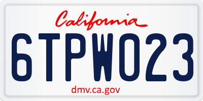 CA license plate 6TPW023