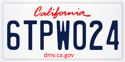 CA license plate 6TPW024