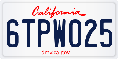CA license plate 6TPW025