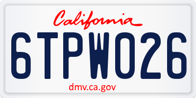 CA license plate 6TPW026