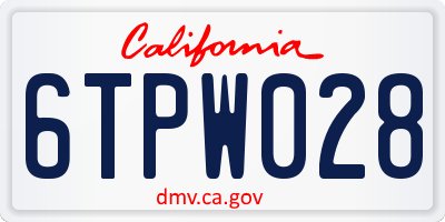 CA license plate 6TPW028