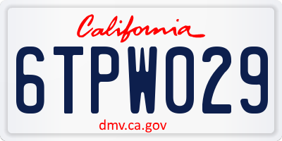CA license plate 6TPW029