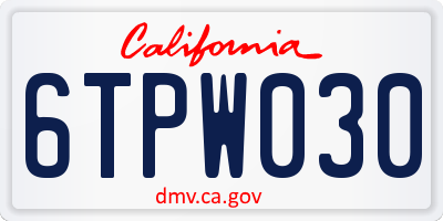 CA license plate 6TPW030