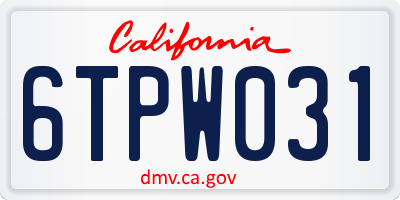 CA license plate 6TPW031