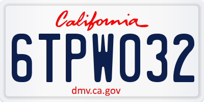 CA license plate 6TPW032