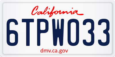 CA license plate 6TPW033