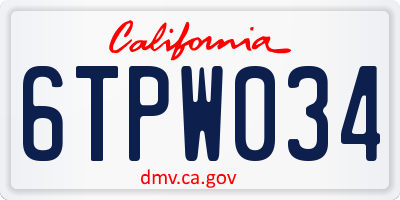 CA license plate 6TPW034