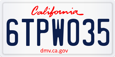 CA license plate 6TPW035