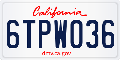 CA license plate 6TPW036