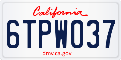 CA license plate 6TPW037