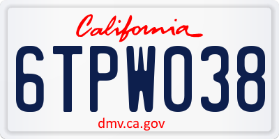 CA license plate 6TPW038