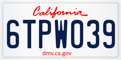 CA license plate 6TPW039