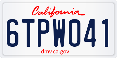 CA license plate 6TPW041