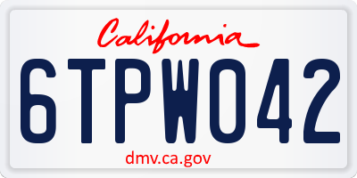 CA license plate 6TPW042