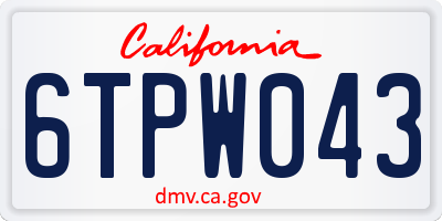 CA license plate 6TPW043