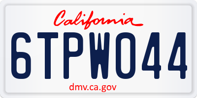 CA license plate 6TPW044