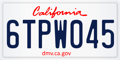 CA license plate 6TPW045