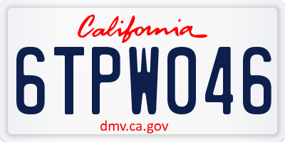 CA license plate 6TPW046