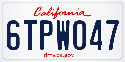 CA license plate 6TPW047