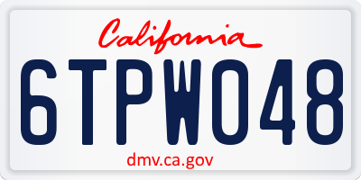 CA license plate 6TPW048