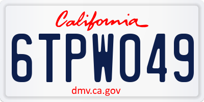 CA license plate 6TPW049