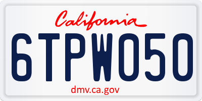 CA license plate 6TPW050