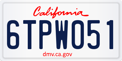 CA license plate 6TPW051
