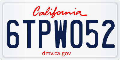 CA license plate 6TPW052
