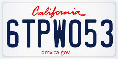 CA license plate 6TPW053