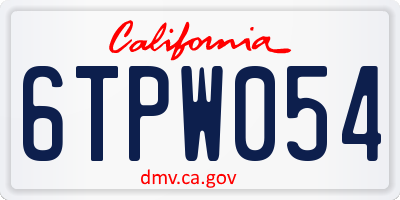 CA license plate 6TPW054