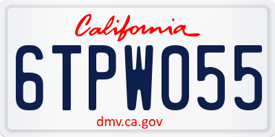 CA license plate 6TPW055