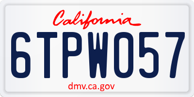 CA license plate 6TPW057