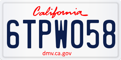 CA license plate 6TPW058