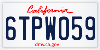 CA license plate 6TPW059