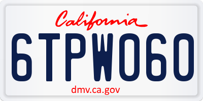 CA license plate 6TPW060