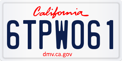 CA license plate 6TPW061