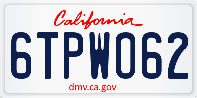CA license plate 6TPW062