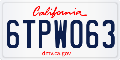 CA license plate 6TPW063