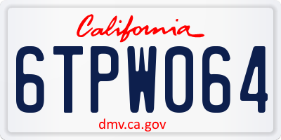 CA license plate 6TPW064
