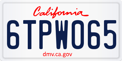 CA license plate 6TPW065