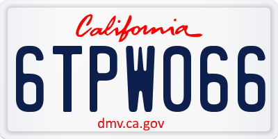 CA license plate 6TPW066