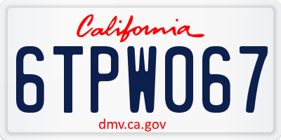 CA license plate 6TPW067