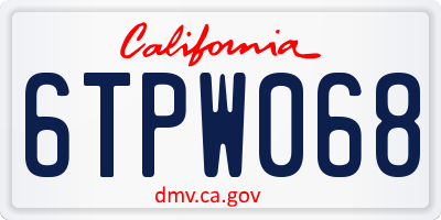 CA license plate 6TPW068
