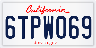 CA license plate 6TPW069