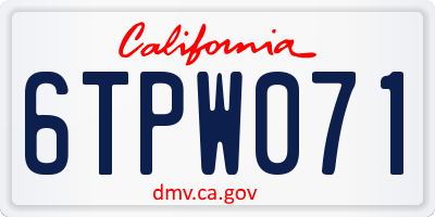 CA license plate 6TPW071