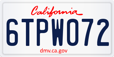 CA license plate 6TPW072