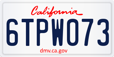 CA license plate 6TPW073