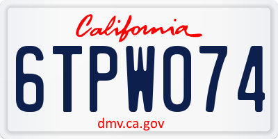 CA license plate 6TPW074