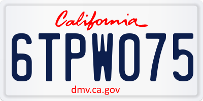 CA license plate 6TPW075