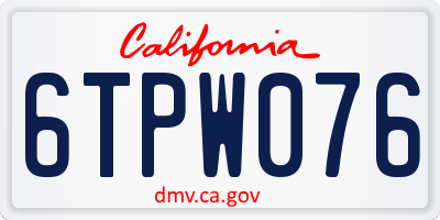 CA license plate 6TPW076
